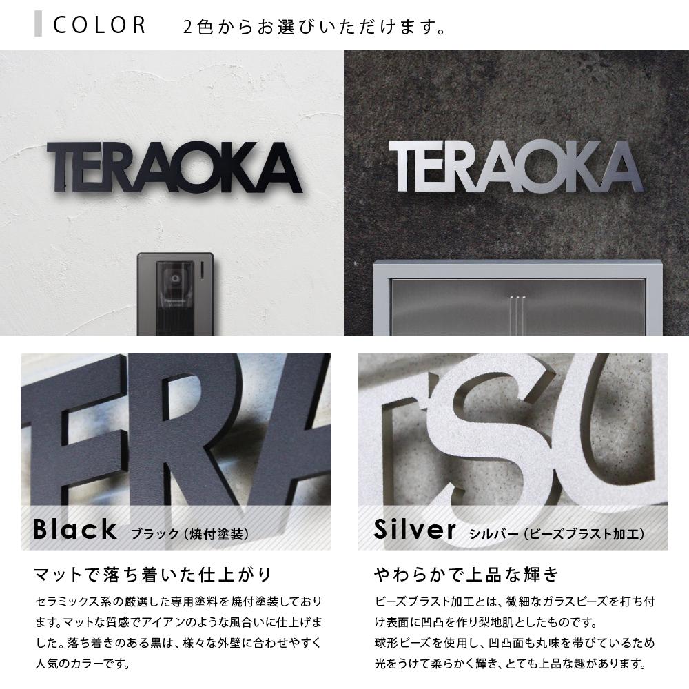 表札 ステンレス カラー ブラック シルバー
